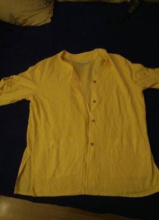 Жёлтый льняной  пляжный халат кардиган жакет лен  батал