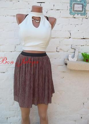 Классная трикотажная юбка гофре с люрексом, на подкладке, размер м, новая