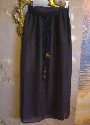 Легкая шифоновая прямая юбочка на подкладке,с ремешком,размер на 50-52