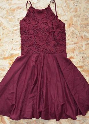 Бордовое платье с кружевом🌸
