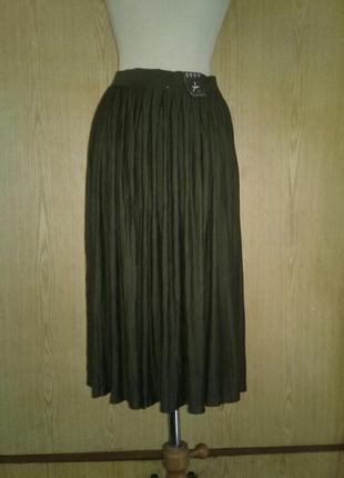 Вискозная юбка цвета хаки, 3хl.