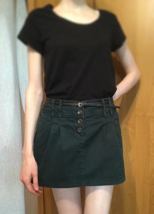 Зеленая джинсовая юбка, мини-юбка colins 40 размер