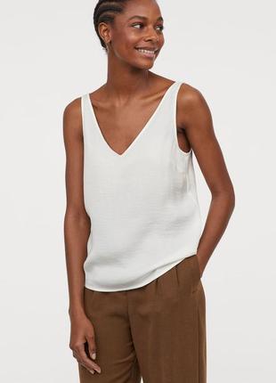 Летняя шифоновая шелковая под шёлк майка топ айвори в бельевом стиле v вырез h&m
