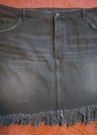 Батал. юбка черная джинс, н&м, р.56
