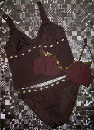 Купальник танкини в цвете шоколад riviera р. l +верх купальника m&s 36c