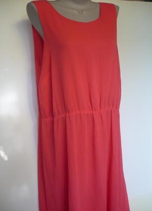 Платье шифоновое, цвет коралл