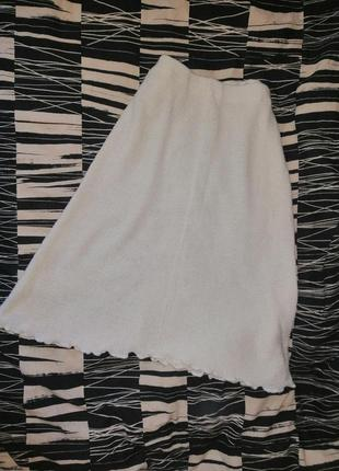 Молочная вязаная юбка