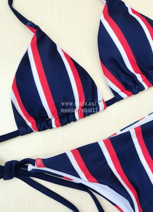 Распродажа💥 стильный купальник на завязках ❤️ в полоску лиф шторки5 фото