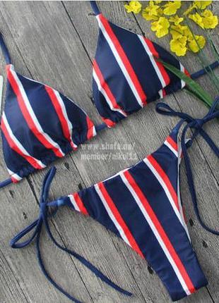 Распродажа💥 стильный купальник на завязках ❤️ в полоску лиф шторки