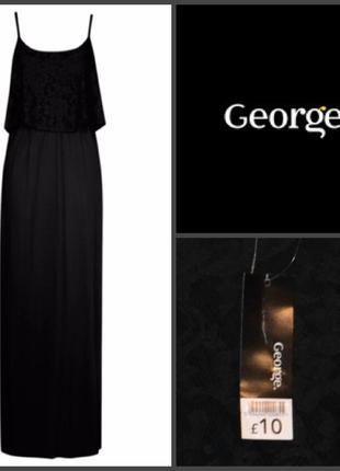 Бирка черное длинное вискозное элегантное приталенное макси платье george s-m 12