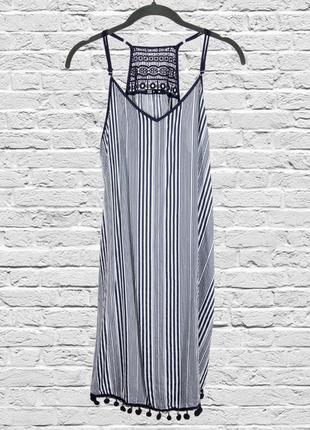 Летний сарафан в полоску, летнее платье в полоску, платье на бретелях