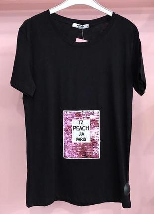 Стильна чорна футболка з паєтками, туреччина