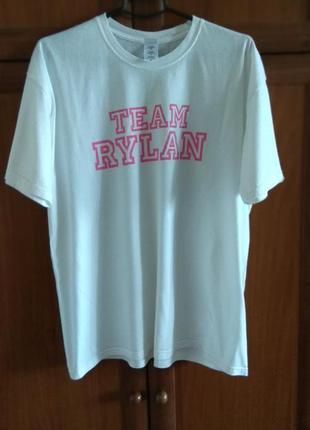 Белая футболка оверсайз с розовым принтом /размер xl-14