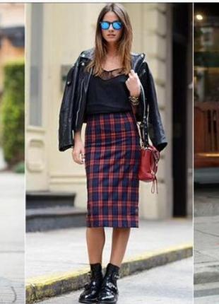 Фирменная стильная качественная натуральная шерстяная крутейшая юбка в клетку