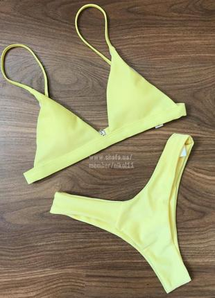 Желтый купальник бикини  😍 плавки стринги бразилиана 🔥3 фото