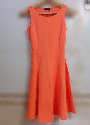 Оранжевое повседневное платье клеш incity однотонное