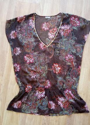 Стильная, летняя, легкая, брендовая блуза-туника. бренд marks &spenser.