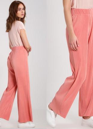 Женские летние плиссированные палаццо брюки штаны персиковые нюдовые