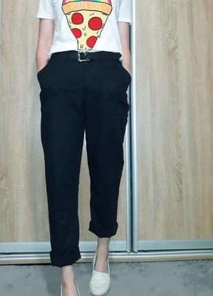 Классные льняные брюки с высокой посадкой ровного кроя с поясом-резинкой и карманами