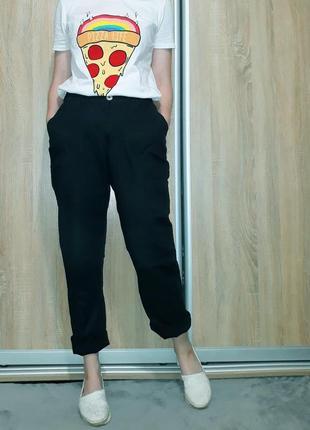 Классные льняные брюки с высокой посадкой ровного кроя с поясом-резинкой и карманами7 фото