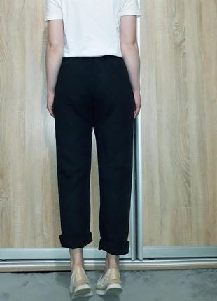 Классные льняные брюки с высокой посадкой ровного кроя с поясом-резинкой и карманами3 фото