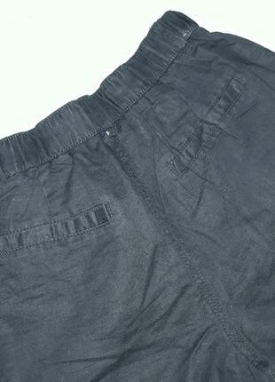 Классные льняные брюки с высокой посадкой ровного кроя с поясом-резинкой и карманами9 фото