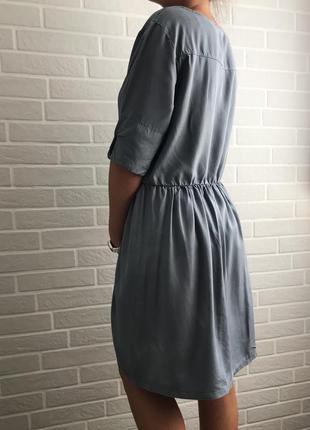 Стильное платье из италии xl голубое серое
