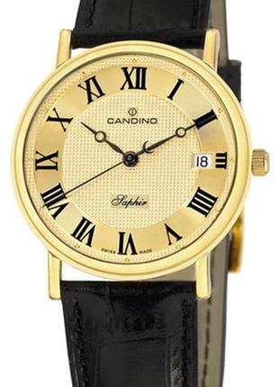 Мужские наручные швейцарские часы candino c4292/3 (с позолотой)