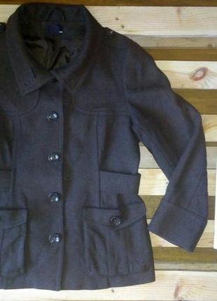 Коричневое пальто h&m