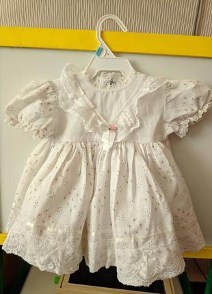 Нарядное белое пышное платье 3-6 месяцев