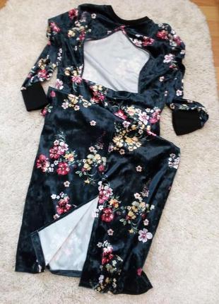 Платье велюр\бархат с открытой спинкой бренд asos. 16/18р5 фото