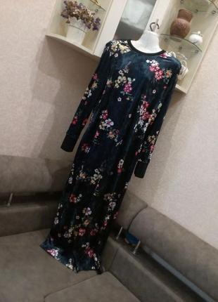 Платье велюр\бархат с открытой спинкой бренд asos. 16/18р2 фото