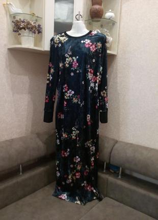 Платье велюр\бархат с открытой спинкой бренд asos. 16/18р7 фото