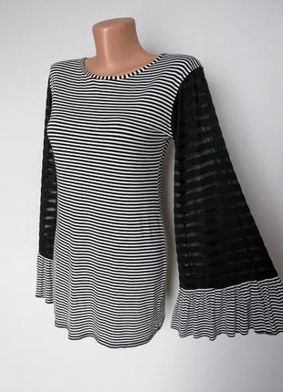 Красивая полосатая кофта-блуза, расклешенный рукавчик.madam rage 10(38)