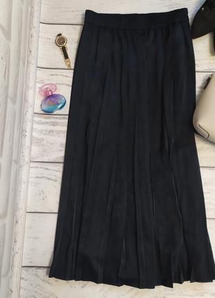 Юбка плиссированная тёмно-синяя, m/l