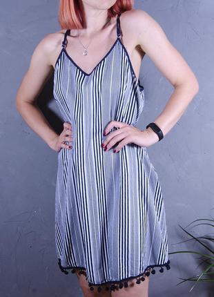 Летнее платье, сарафан в полоску, свободный сарафан, синее платье с кружевом