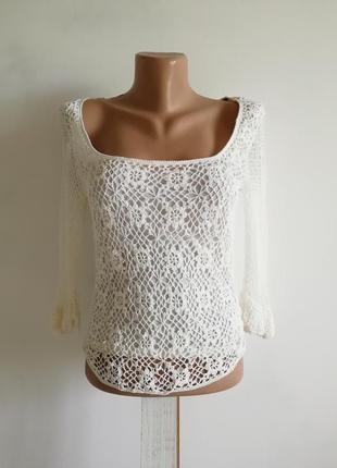 🌹 белый ажурный топ сетка в стиле кроше 🌹 молочно-белая блуза ретро