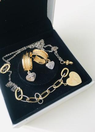 Tiffany золотые серьги из лимонного золота с сердечком из белого золота