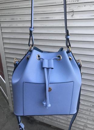 Кожаная сумка сумка кожаная nursace голубая