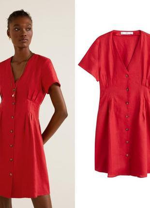 Мango лен, платье, s/l3 фото