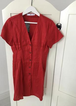 Мango лен, платье, s/l5 фото