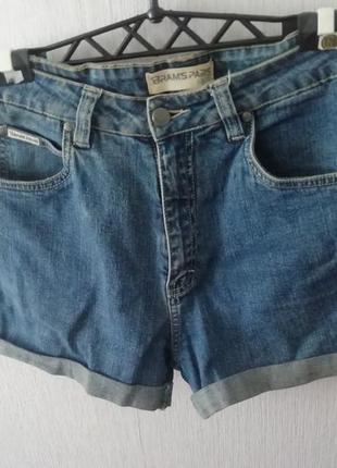 Шорты рваные, с высокой талией, синие, джинсовые
