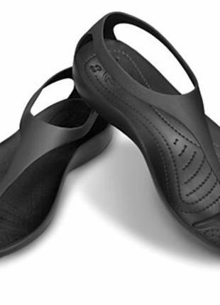 Чёрные босоножки crocs sexy flip w8 размер 38