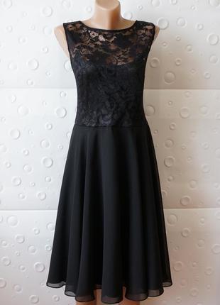 Шикарное черное вечернее чёрное платье с гипюром кружевом swing