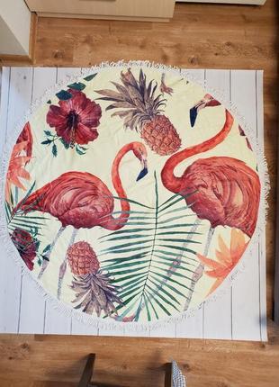 """Плед полотенце пляжное круглое """"фламинго тропики"""" 150х150 см"""