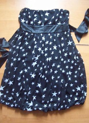 Платье-бюстье шифон черное в белые звезды, 42р