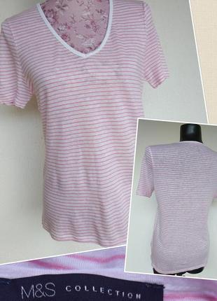 Фирменная стильная качественная натуральная футболка в полоску из льна.