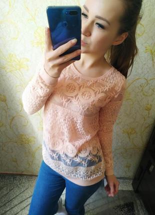 Красивенная блузка гипюр цвета персиковой пудры свитшот от revelation