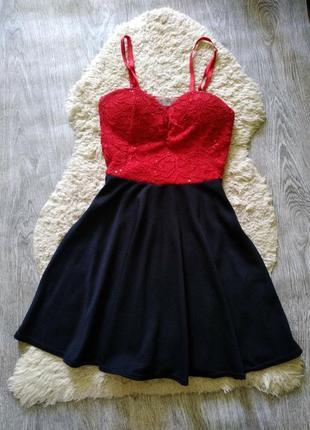Черное красное летнее платье сарафан на бретелях кружевное ажурное cameo rose,  m,  l
