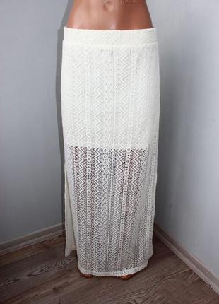 Шикарнейшая гипюровая молочная юбка в пол /с коротким подкладом и длин.разрезами, м